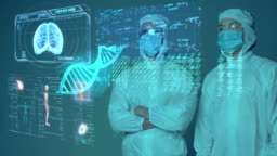 Medical doctor scientist COVID vaccine researcher wearing mask and suit with smart mobile virus analysis, medical laboratory IoT technology AI mobile health care digital futuristic presentation.