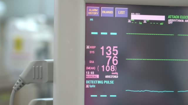 medical equipment screen of vital signs - respiratory machine stock videos & royalty-free footage