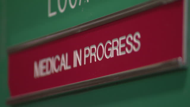 cu 'medical in progress' sign - western script stock videos & royalty-free footage