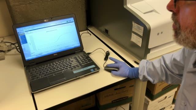 a medical laboratory scientist checks positive coronavirus results at the university of washington medicine virology lab on march 13 2020 in seattle... - bundesstaat washington stock-videos und b-roll-filmmaterial