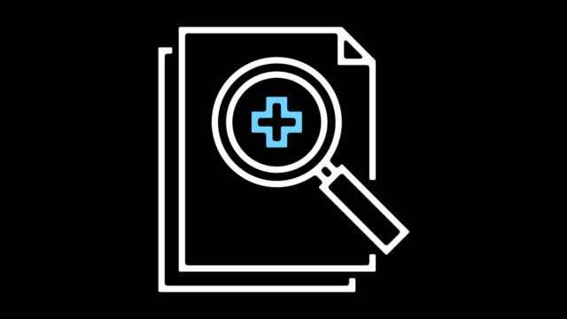 vídeos de stock, filmes e b-roll de registros médicos linha ícone animação com alfa - ícone de linha