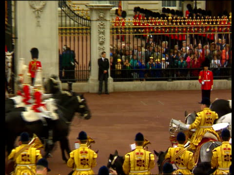 medical records/security arrangement documents found; lib england: london: buckingham palace: bv man on horseback banging drums at trooping the... - ayr stock videos & royalty-free footage