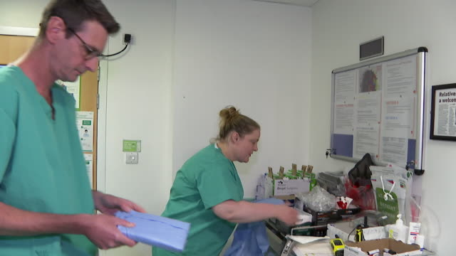 medical staff at addenbrooke's hospital in cambridge show how to put on ppe personal protective equipment before entering the ward during the... - preparation stock videos & royalty-free footage