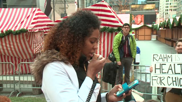 wgn medical student speaks at medical students rally to support black lives matter movement in chicago near chicago city hall on december 10 2015 - medical student stock videos and b-roll footage