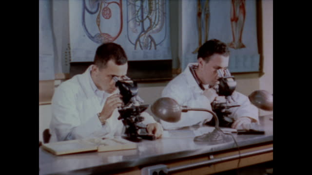 1958 medical students in the classroom and the laboratory - research stock videos & royalty-free footage