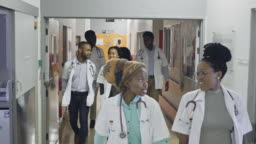 Medical students team walking down hospital corridor