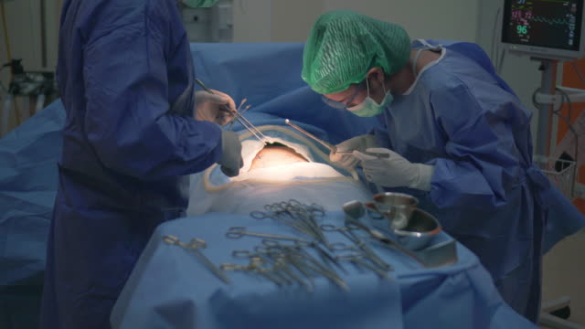 Medical Team Performing Surgical Operation in Operating Room