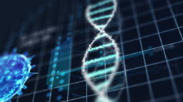Medical tech spiral DNA Chromosome laboratory and virus analysis on blue grid background. Abstract hologram HUD interface and biology concept. Digital screen technology innovative. 4K footage video