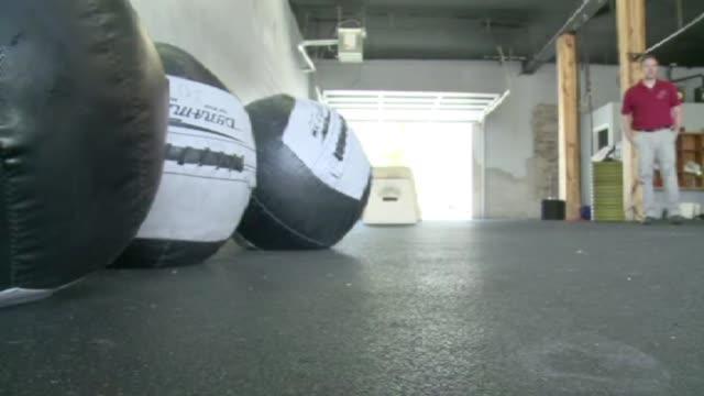 Medicine Balls At Gym on August 04 2010 in Dallas Texas