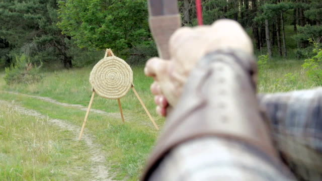 medieval archer shoot with longbow - longbow stock videos and b-roll footage