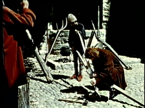 RECREATION, MS, MONTAGE, Medieval blacksmiths and tanners at work