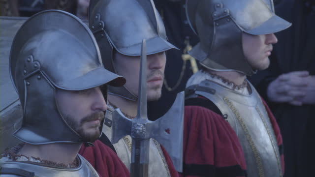medieval guards standing before a crowd of people. - medieval stock videos & royalty-free footage