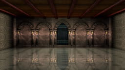 Medieval hall with iron gate 4K