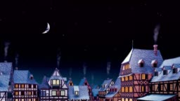 Medieval house rooftops with smoking chimneys at starry night