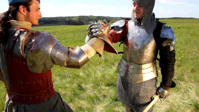 medieval knights handshake - knight person stock videos and b-roll footage