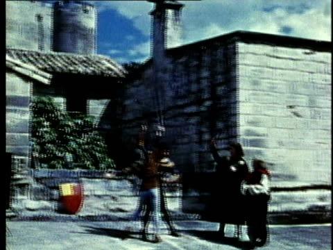 recreation, ws, pan, medieval noblemen practicing swordsmanship - question mark stock videos & royalty-free footage