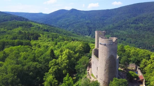 medieval ruins of andlau castle dron aerial video - castle stock videos & royalty-free footage
