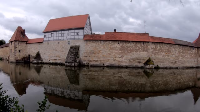 medieval town fortification and moat - moat stock videos & royalty-free footage