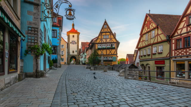 medieval town rothenburg in germany - time lapse - town stock videos & royalty-free footage