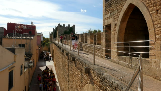 Medieval town wall of Alcudia, Majorca, Balearic Islands, Spain