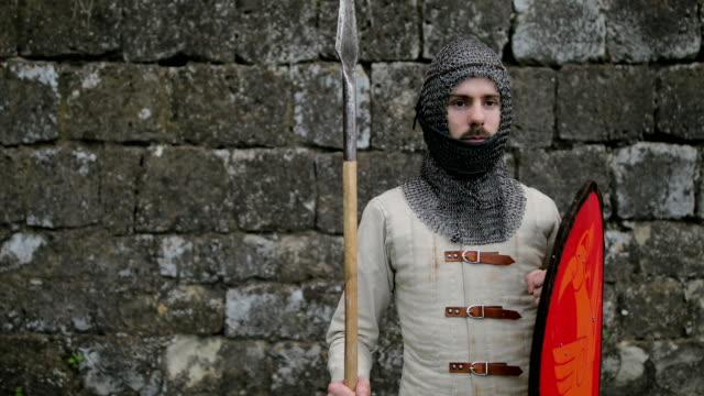 medieval warrior with chain mail armour and spear - guarding stock videos & royalty-free footage