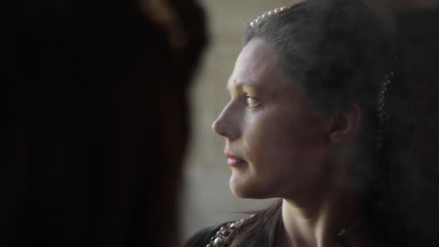 medieval woman's relfection in mirror - medieval era reenactment . - mirror stock videos & royalty-free footage