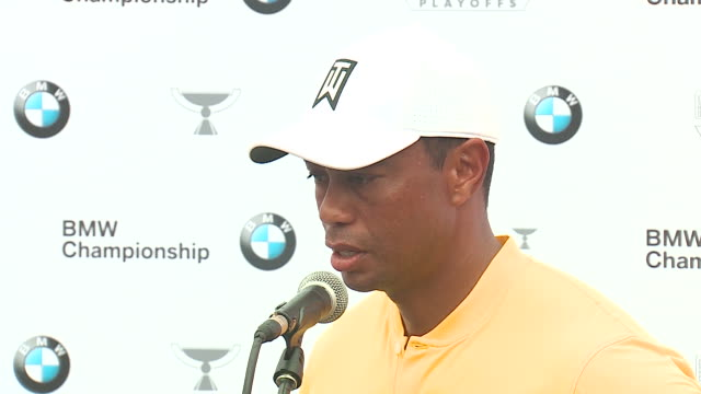 wgn medinah il us tiger woods talks to media after the third round of the bmw championship at medinah country club on saturday august 17 - dupage county stock videos & royalty-free footage