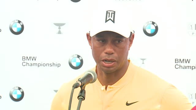 wgn medinah il us tiger woods talks to media after the third round of the bmw championship at medinah country club on saturday august 17 2019 - tiger woods stock videos & royalty-free footage