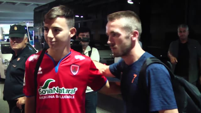 medipol basaksehir players arrive at seville airport for uefa champions league playoff match between sevilla fc and medipol basaksehir at ciudad... - playoffs stock videos & royalty-free footage