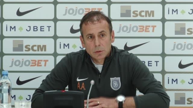 Medipol Basaksehir's head coach Abdullah Avci and defender Ferhat Oztorun attend a press confernce in Lviv Ukraine on August 24 2016 Turkey's Medipol...
