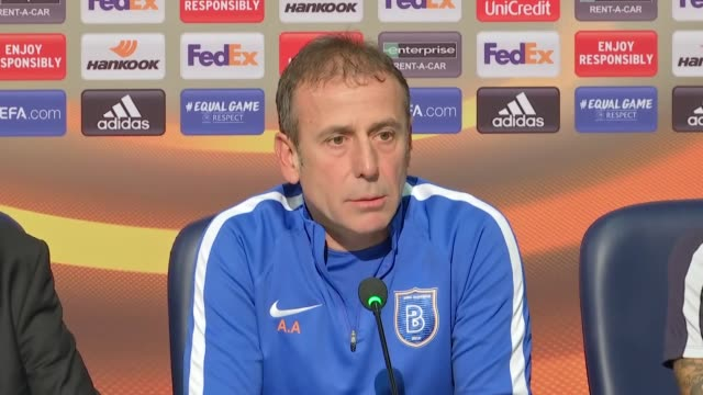 Medipol Basaksehir's head coach Abdullah Avci and defender Junior Caicara attend a press conference on the eve of the UEFA Europa League Group C...