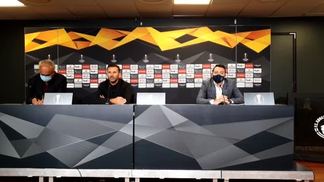 medipol basaksehir's head coach okan buruk attends a press conference following the uefa europa league round of 16 second leg match between fc... - oresund region stock videos & royalty-free footage