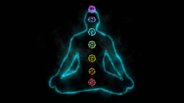 meditating enlightenment - chakra symbols - mental wellbeing stock videos & royalty-free footage