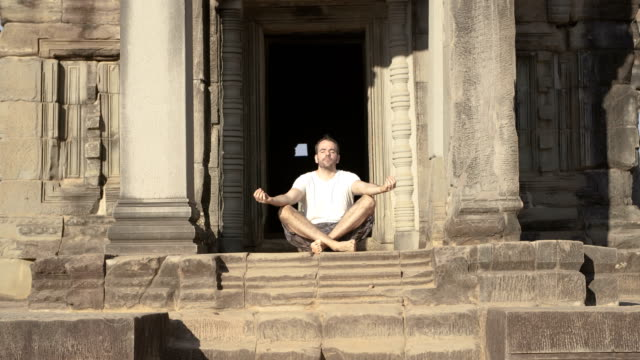 Meditating in a temple