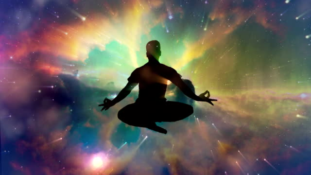 Meditating man enlightenment or meditation and universe