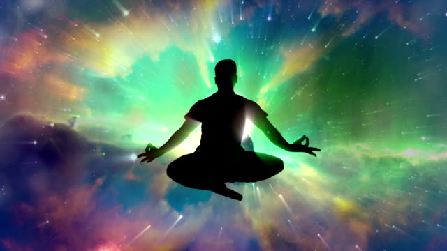 meditating man enlightenment or meditation and universe - mandala stock videos & royalty-free footage