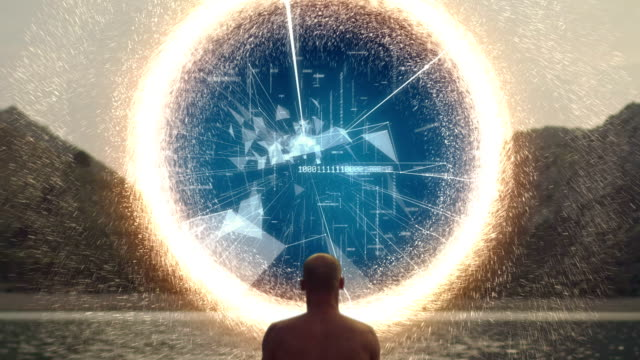 meditating man opens portal with digital energy - parallelo video stock e b–roll