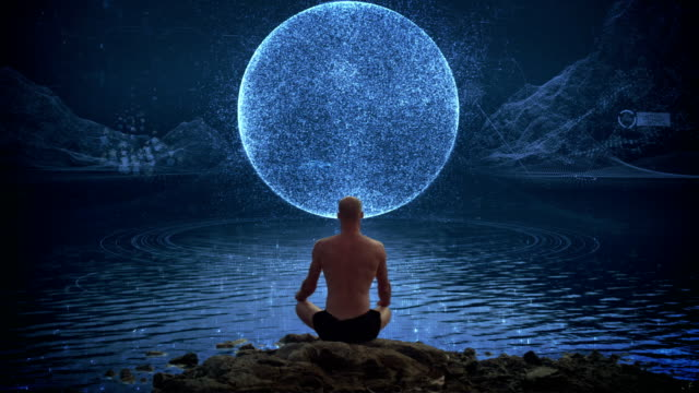 meditation man cracking the matrix - alertness stock videos & royalty-free footage