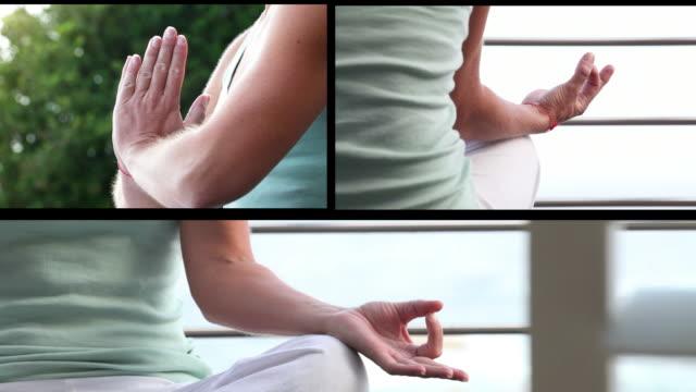 meditation split screen montage - female beheading stock videos & royalty-free footage
