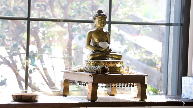 meditation statue and paraphernalia - new age stock videos & royalty-free footage