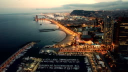Mediterranean coast  in Barcelona in night lights