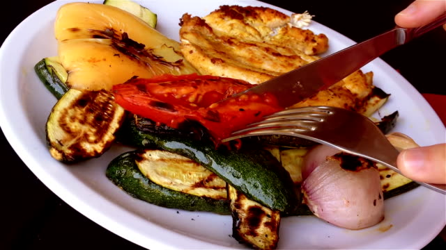 mediterranean food, grilled chicken with vegetables - mediterranean food stock videos & royalty-free footage