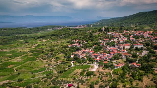 AERIAL: Mediterranean Landscape with Village, Hvar - Croatia