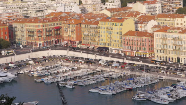 W/S Mediterranean Sea, Azur, harbour, boats, rooftops, Nice, France