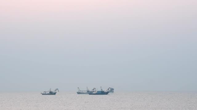 vídeos de stock e filmes b-roll de mediterranean sea with shell fishing boats at dawn, punta sabbioni, venice, venetian lagoon, mediterranean sea, veneto, italy - quatro objetos