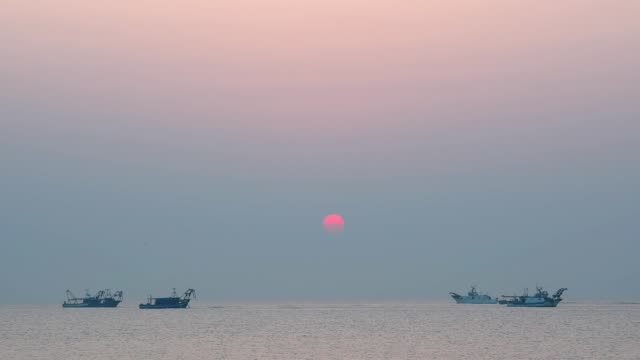 Mediterranean sea with shell fishing boats at sunrise, Punta Sabbioni, Venice, Venetian Lagoon, Mediterranean Sea, Veneto, Italy