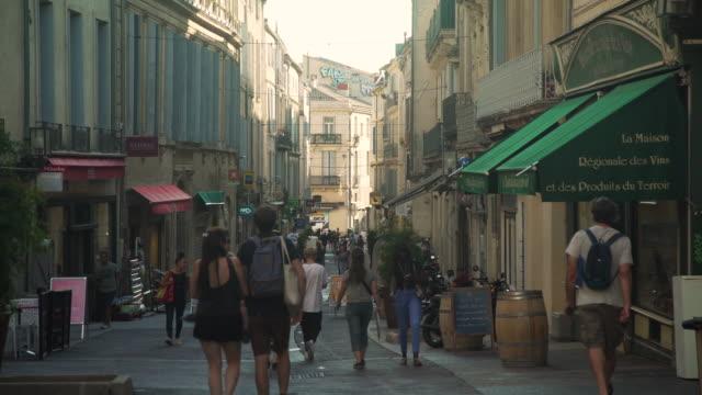 mediterranean shopping street at montpellier, france - französische kultur stock-videos und b-roll-filmmaterial