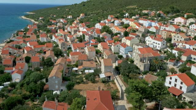 AERIAL Mediterranean town in sunshine