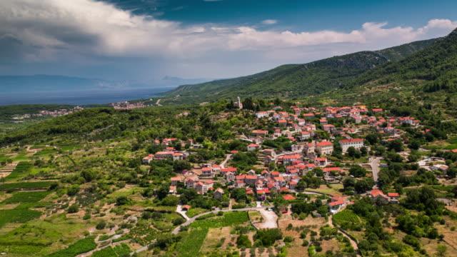 AERIAL: Mediterranean Village, Island Hvar, Croatia