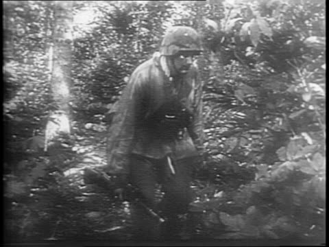 vidéos et rushes de medium and close up shots of ss general josef dietrich with nazi soldiers / shots of nazi wehrmacht infantry walking with weapons and camouflage /... - wehrmacht